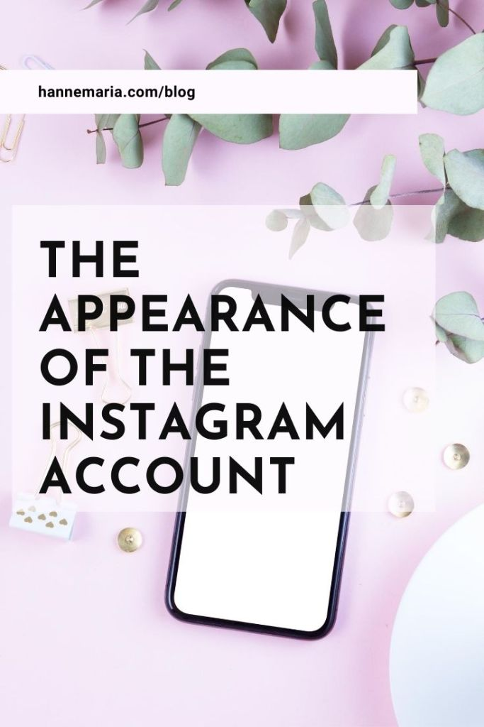 The appearance of the Instagram account