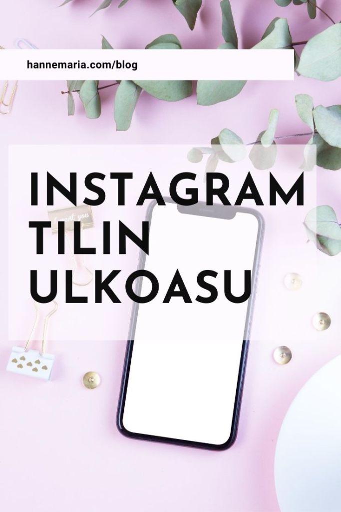 Instagram tilin ulkoasu